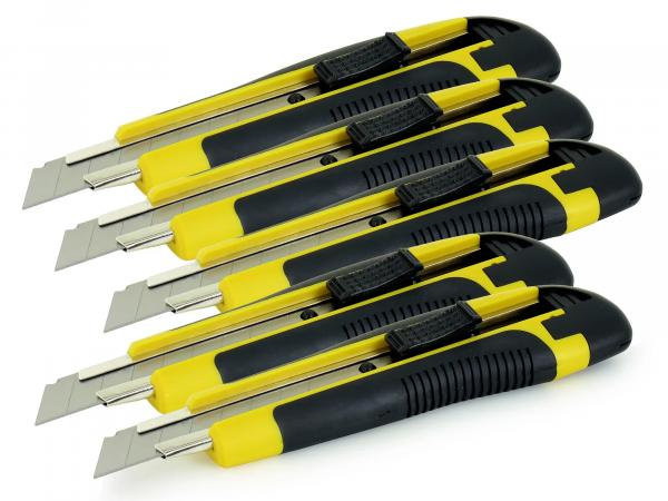5 x Cutter knife with 18mm trapeze blade - Cheap set for do-it-yourselfers and professionals