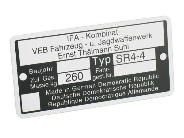 Typenschild SR4/4 Aluminiumplakette