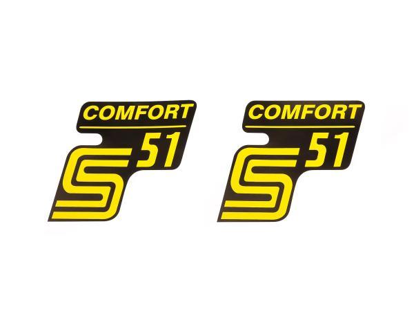 """Set: 2x Klebefolie - """"S51 Comfort"""" Gelb"""