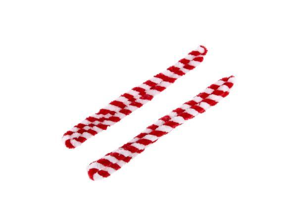 Nabenputzringe Rot/Weiß (Set 2x 56cm für Moped, Mokick)
