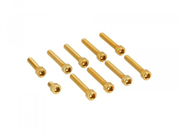 10070565 Set: Aluminium-Schrauben, Innensechskant in Gold für Kupplungs- und Lichtmaschinendeckel Motor S51 - Bild 1