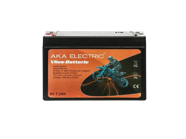 Batterie 6V 7,2Ah AKA (Vlies - wartungsfrei) - für Simson S50, S51, S70, SR50, SR80