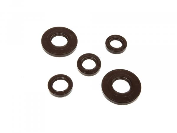 Set: Shaft sealing rings engine complete, brown, dust lip - Simson S50, KR51/1 Schwalbe, SR4-2 Star, SR4-3 Sperber, SR4-4 Habicht