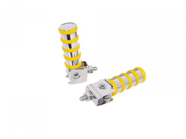 SET Passenger footrest left and right, chrome plated, 4 rings, yellow, ETZ