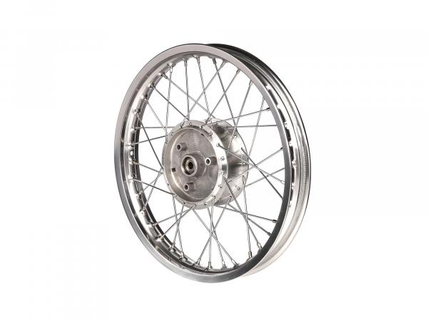 "Tuning spoke wheel 1.5 x 16"" polished aluminium rim + chrome spokes - for Simson S51, S50, KR51 Schwalbe, SR4"