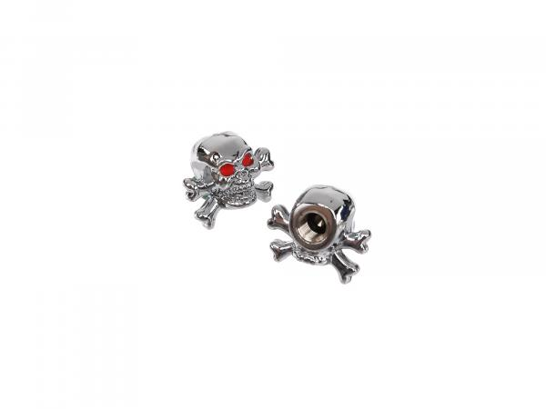 Set: 2x valve cap skull with bone, chrome