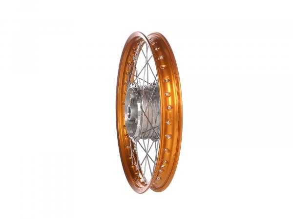 "Spoked wheel 1,5 x 16"" aluminium rim, orange anodized, stainless steel spokes - Simson S50, S51, KR51 Schwalbe, SR4"