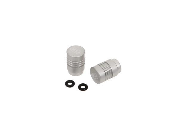 10031178 Set: 2x Ventilkappe MZA-Design, Siber matt eloxiert - Bild 1