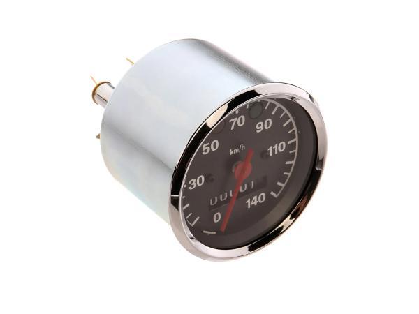 Tachometer bis 140 km/h, Ø80mm, Kontrollleuchten ROT + GRÜN - für MZ TS