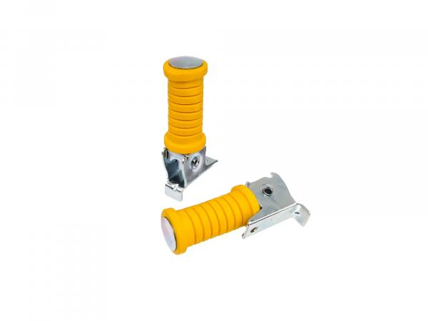 Set: Passenger footrest left and right yellow, zinc plated - Simson