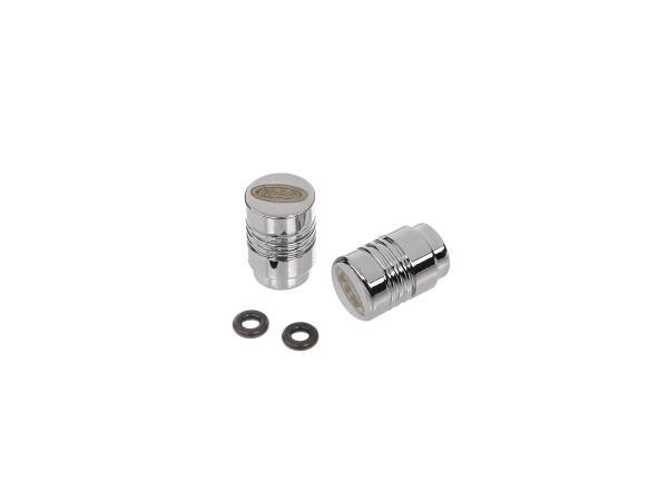 Set: 2x valve cap MZA design, chrome anodized