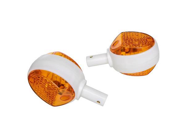 Set: 2 Blinker in Weiß mit orangenem Glas - Simson KR51/1 Schwalbe, KR51/2 Schwalbe, SR4-2 Star, SR4-3 Sperber, SR4-4 Habicht, MZ ES
