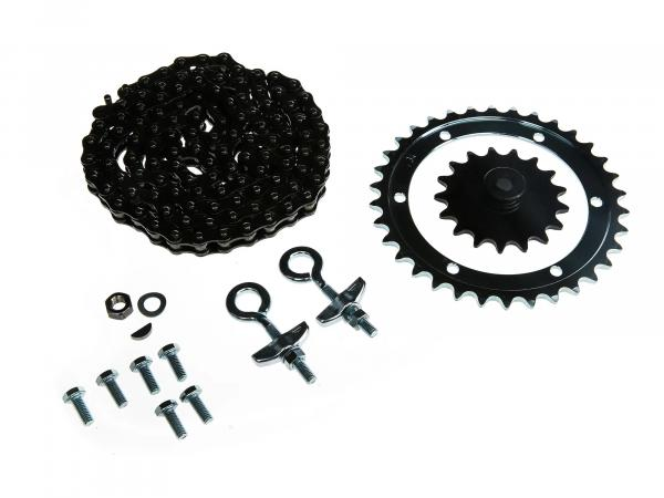 Set_of_drive_parts KR50 (drive ring screwed, chain tensioner Ø12, chain, sprocket 17 tooth etc.)