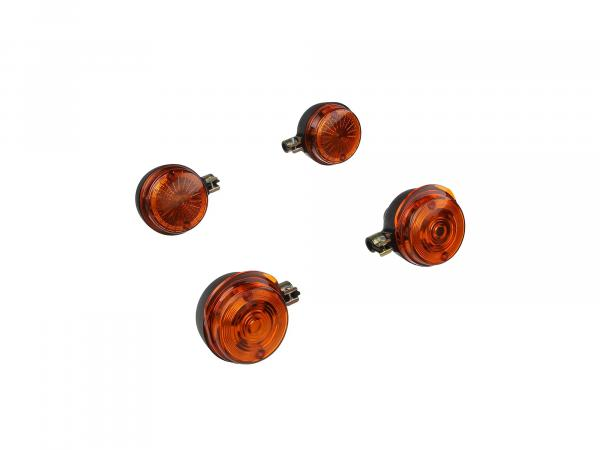 Set: 4 indicators round in black with orange glass - Simson S50, S51, S70, SR50, SR80, MZ ETZ, TS