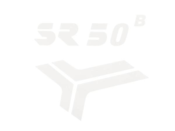 """Schriftzug (Folie) """"SR50 B"""" weiß für Knieblech - für Simson SR50"""
