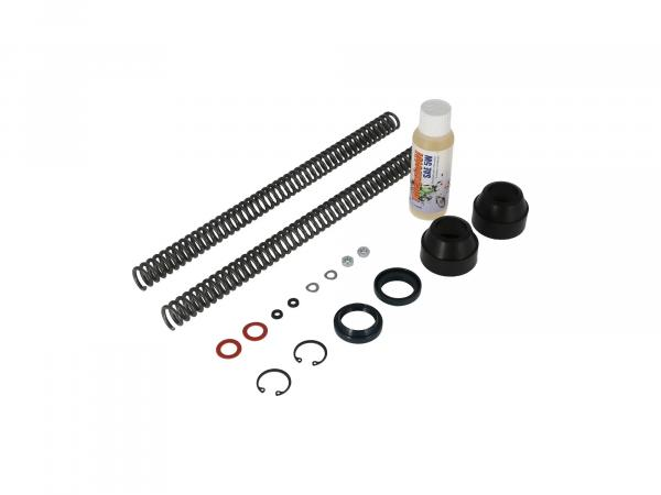 Set: telescopic fork repair, with dust wiper, reinforced pressure spring 3,4mm - for Simson S50, S51, S53, S70, SR50, SR80