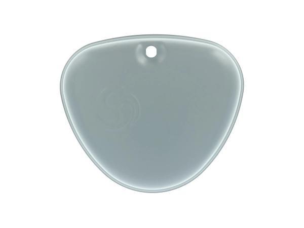 """Seitendeckel links, grau grundiert, mit original """"Wirbel-Logo"""" - Simson S50N, S51N"""