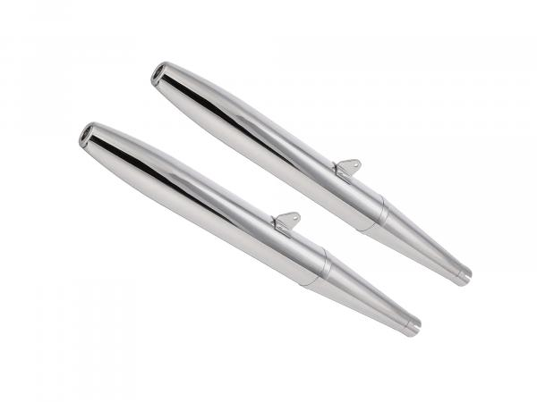 Exhaust BK350 cigar type 2 (1 set = 2 pieces) chrome, two-piece, dismountable