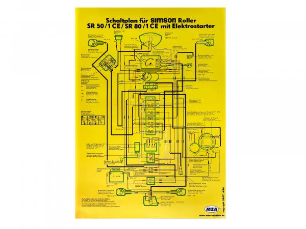 Circuit diagram colour poster (40x57cm) SR50/1 CE, SR80/1 CE with electrostrater (both sides gloss cello, dirt-repellent)