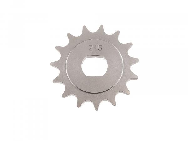 sprocket, small sprocket, 15 teeth - for Simson S51, S70, S53, S83, KR51/2 Schwalbe, SR50, SR80