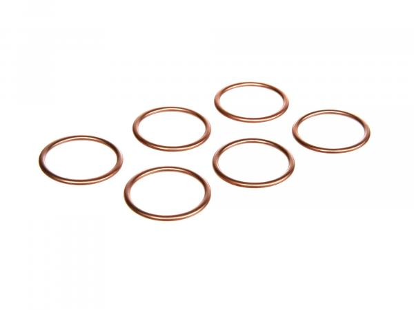 Set: 6 x elbow gasket 28 x 34 copper - Simson S50, S51, KR51 Schwalbe, SR50, etc.