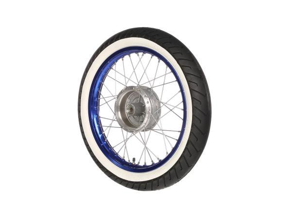 """10066191 Komplettrad vorn 1,5x16"""" Alufelge blau + Edelstahlspeichen + Weißwandreifen Mitas MC2 - Bild 1"""