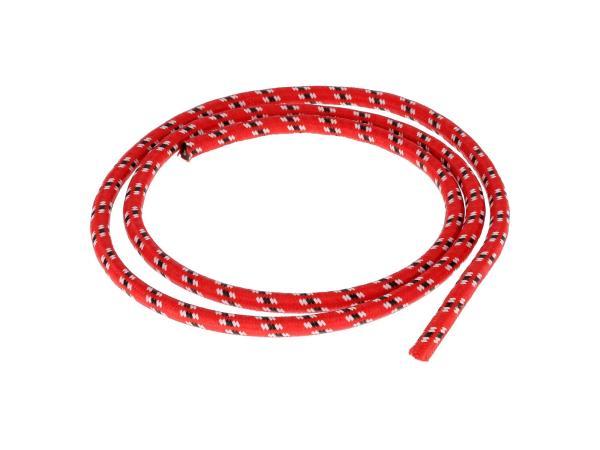 10069876 Zündkabel Textilummantelt, Rot/Weiß/Schwarz - 1m - Bild 1