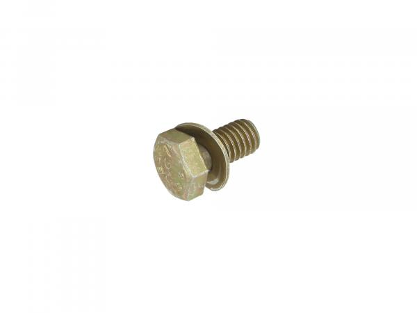 Hexagon head screw, yellow zinc plated with spring washer M6x12 - DIN933-Z3