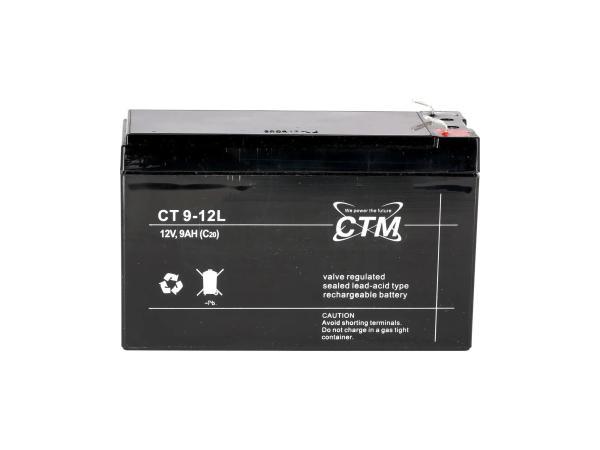 Batterie 12V 9Ah CTM (Vlies - wartungsfrei) - für MZ ETZ 125, ETZ 150, ETZ 250, ETZ 251, ETZ 300