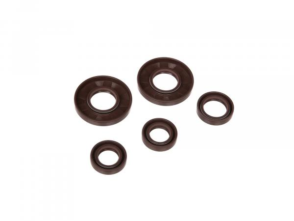 Set: Oil seals engine complete, brown, double lip - for Simson S50, KR51/1 Schwalbe, SR4-2 Star, SR4-3 Sperber, SR4-4 Habicht