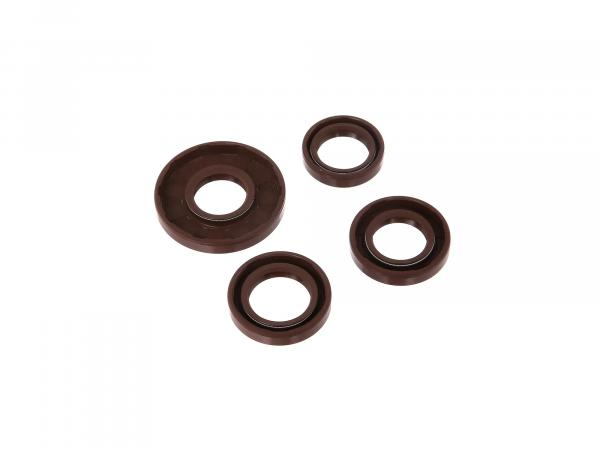 Set: Oil seals motor complete, brown, dust lip - Simson S51, S70, S53, S83, KR51/2 Schwalbe, SR50, SR80