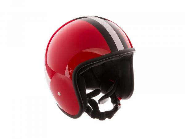 """99001187 Mängelexemplar - ARC Helm """"Modell A-611"""" Retrolook - Rot mit Streifen - Größe XL (61-62cm) - Bild 1"""