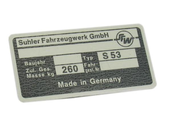 Typenschild S53 Aluminiumplakette
