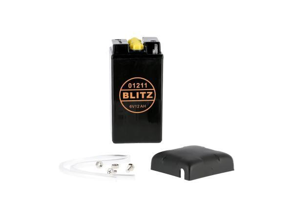 GP10068543 Batterie 6V 12Ah BLITZ (ohne Säure) mit Deckel - Simson AWO, MZ, EMW - Bild 1