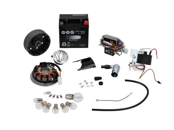 Set: Umrüstsatz VAPE auf 12V (mit Batterie, Hupe und Leuchtmittel) - Simson S50, S51, S70
