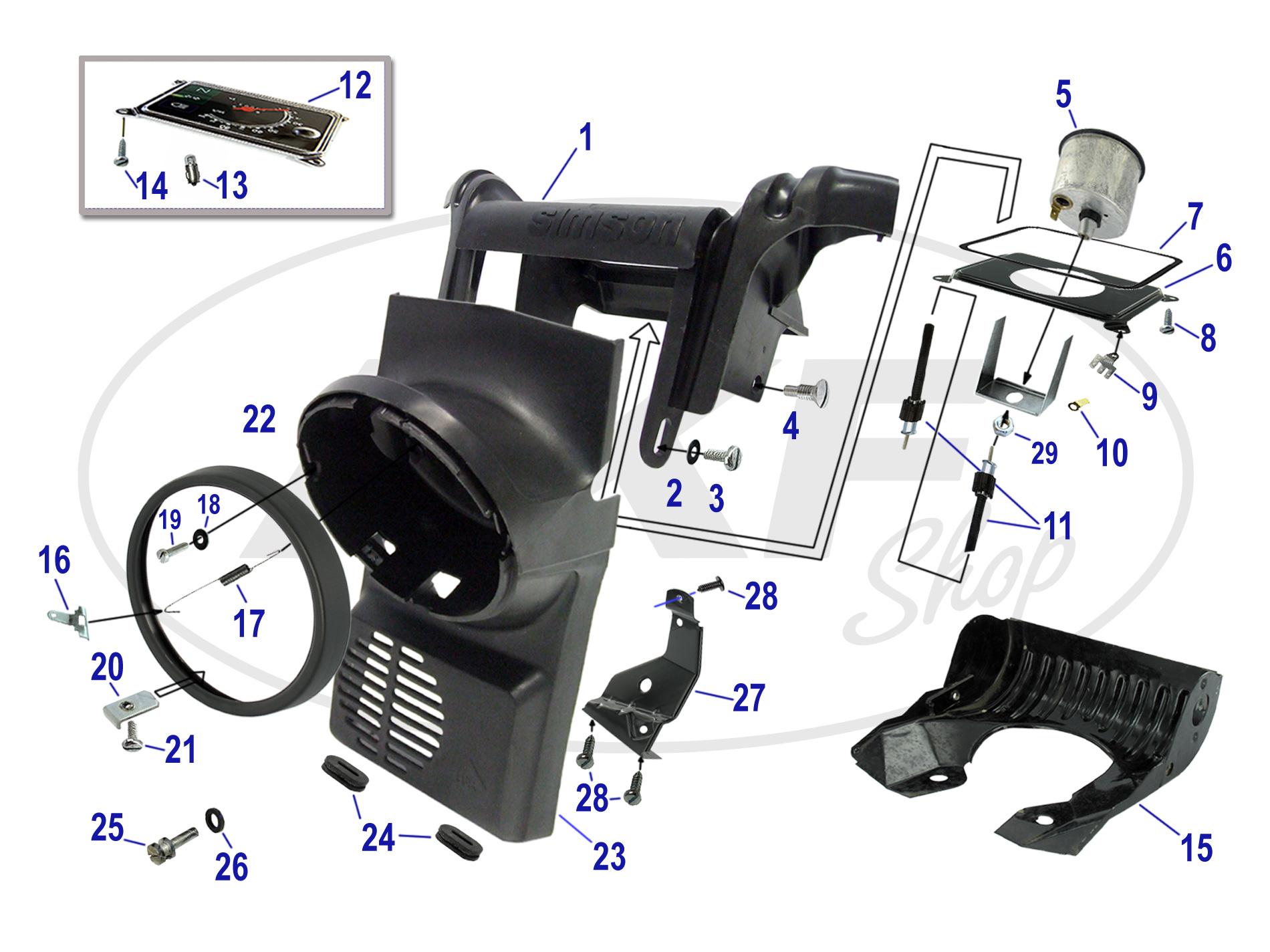 f/ür Simson SR50 SR80 FEZ Armaturengeh/äuse f/ür Tachometer