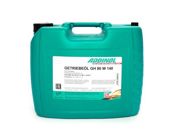 ADDINOL GH 80 W 140, gear oil, (SAE class 140) semi-synthetic, 20 L canister
