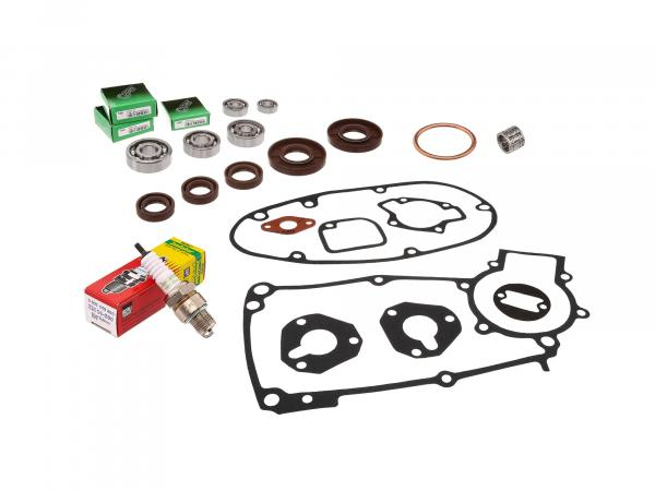 Set: ball bearings, shaft seals (brown), seals and spark plug - for Simson S50