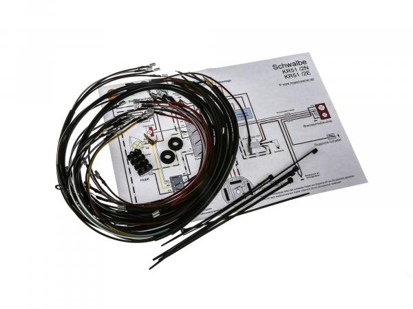 Cable harness set Schwalbe KR51/2 E, KR51/2 N, 6V interrupter ignition with wiring diagram