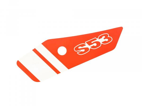 10069680 Klebefolie für Seitendeckel, links, Rot/Weiß - Simson S53 - Bild 1