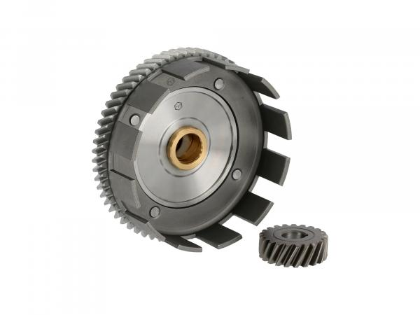Set: Clutch basket with collar bushing (lubrication grooves) + drive pinion, 62/21 tooth - Simson S70, S83, SR80