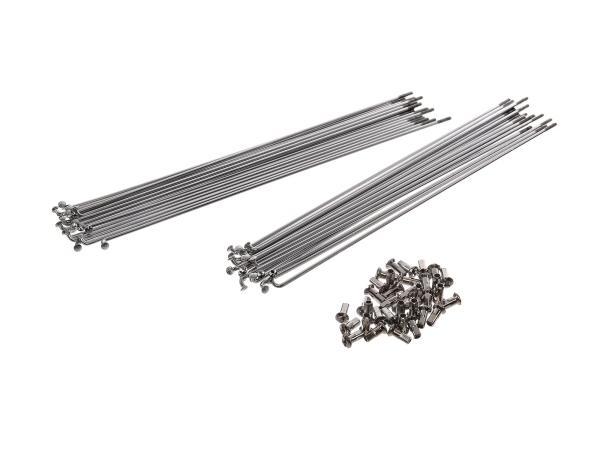 Set: Speichen mit Nippel (18x 246mm + 18x 260mm) M3 in Chrom - 22 Zoll Felge für Hinterrad - für Simson SR1