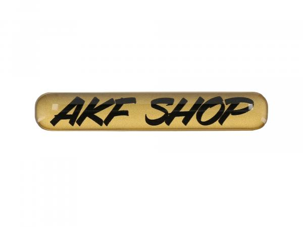"10070616 Gelaufkleber - ""AKF Shop"" gold/schwarz - Bild 1"