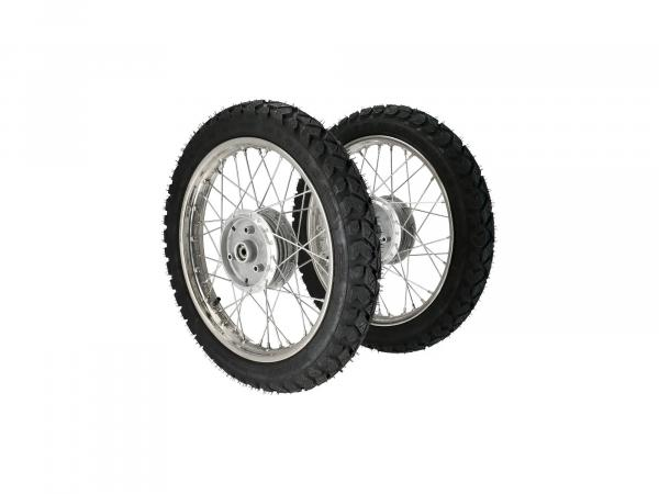 "Set: 2 winter complete wheels 1,6x16"" stainless steel rim + stainless steel spokes + tyre Heidenau K42 (M+S)"