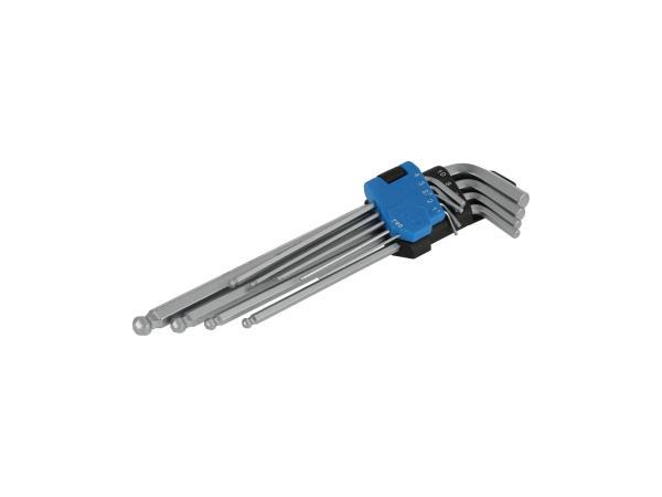 10070628 Innensechskant-Schlüsselsatz, extra lang, mit Kugelkopf 1,5 bis 10, 9-teilig - Bild 1