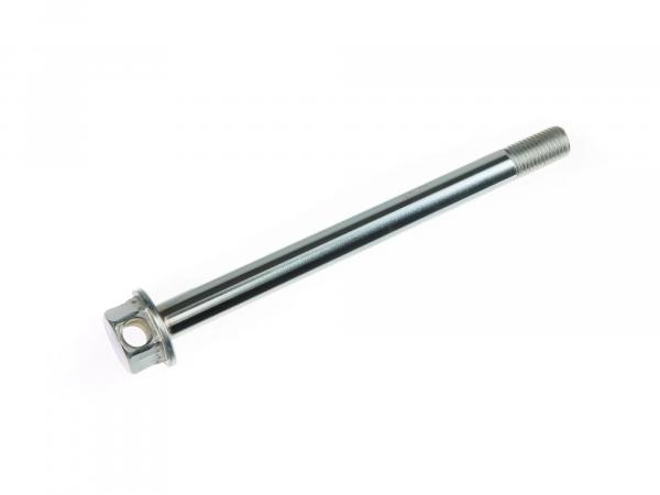 Rear thru axle - 150mm - matt chrome plated - with mounting hole in hexagon - Simson