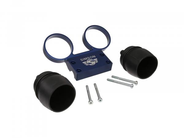 Set: Fitting holder and rubber covers for round instruments Ø60, aluminium blue