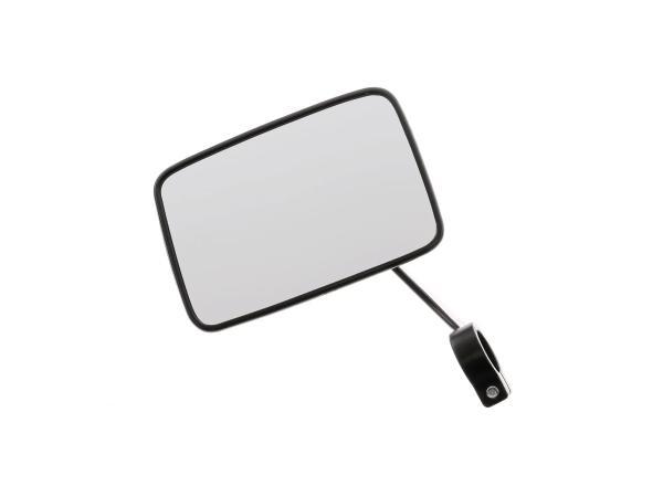 Rückblickspiegel eckig, links, schwarze Blech-Spiegelschale