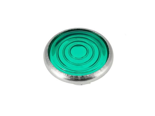 10001658 Kontrollglas, Grün, Alu-Fassung, Ø16mm - für Simson KR51/1 Schwalbe, SR4-2 Star, SR4-3 Sperber, SR4-4 Habicht, AWO, MZ RT, BK350, EMWR35 - Bild 1