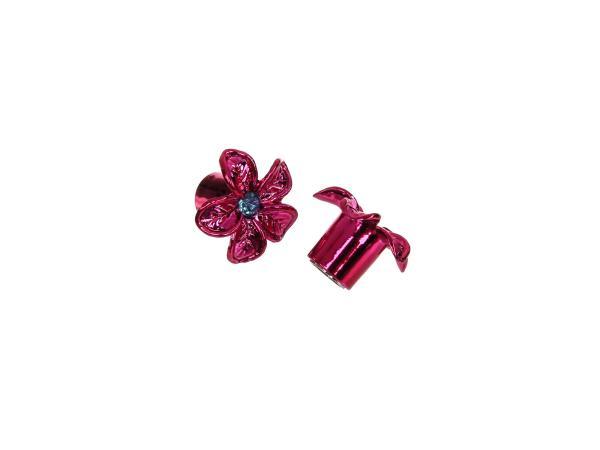 Set: 2x Ventilkappe Blume, Pink eloxiert